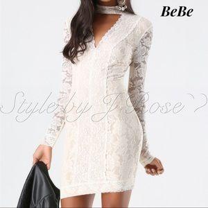 NWT's BeBe Lace Paneled Mock Neck Dress